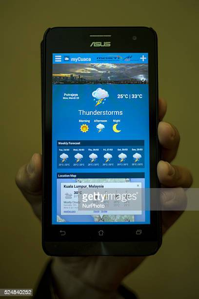 A closeup shot of a smartphone application MyCuaca during the World Meteorological Day event in Putrajaya Malaysia on 23 March 2015 MyCuaca a...