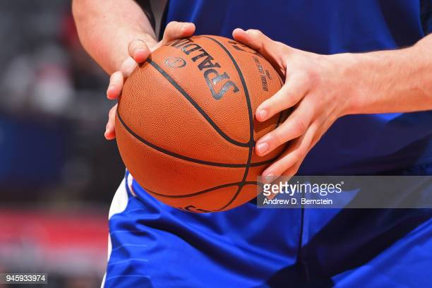 Closeup shot of Boban Marjanovic of the LA Clippers as he shoots the ball against the Denver Nuggets on April 7 2018 at STAPLES Center in Los Angeles...