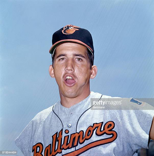 Close-up shot of Dave Johnson, infielder for the Baltimore Orioles.