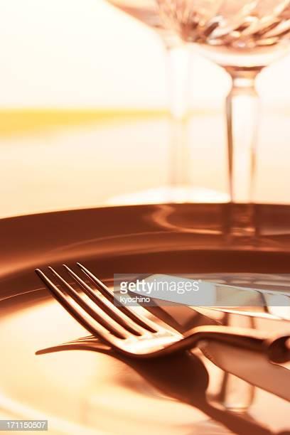 Close-up shot of elegant dinner table setting