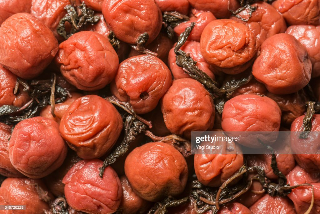 Close-up shot of salted plum : Stock Photo