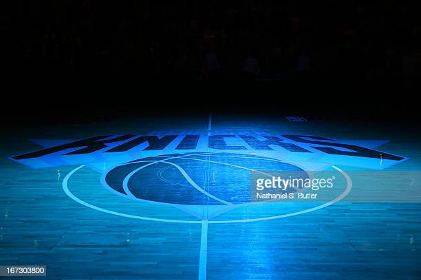 A closeup shot of the Knicks Logo in Game Two of the Eastern Conference Quarterfinals during the 2013 NBA Playoffs on April 23 2013 at Madison Square...