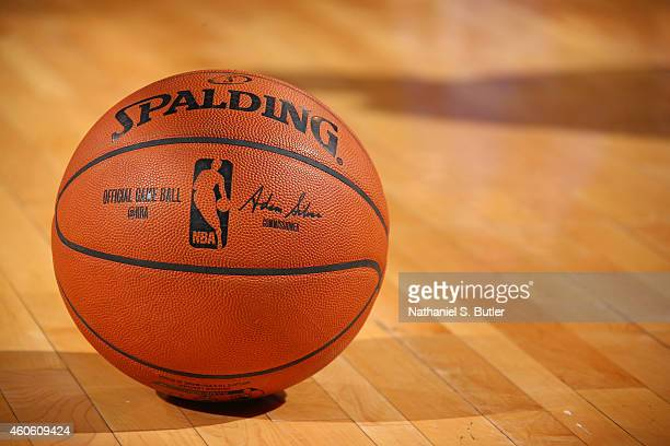 A closeup shot of the new Official Spalding NBA Game Ball signed by Commissioner Adam Silver during a game between the Cleveland Cavaliers and New...