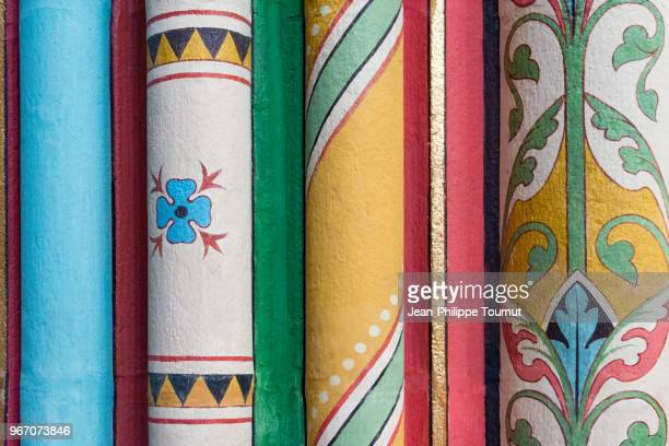 Close-up shot of the paintings on a column of Limoges Cathedral, France
