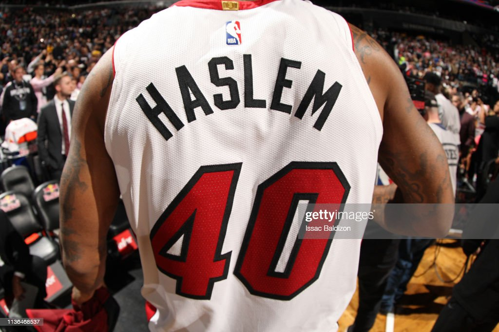 half off 65615 8ac7e A close-up shot of Udonis Haslem of the Miami Heat jersey ...