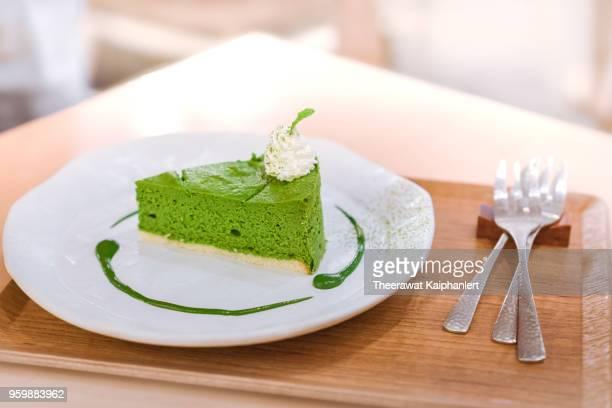 Close-up sliced green tea cake