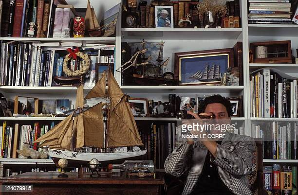 Closeup sport's journalists of Antenne 2 In Paris France On December 16 1991 Jean Mamere specialist sailing America's Cup