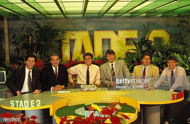 Closeup sport's journalists of Antenne 2 In Paris France On December 16 1991 The team of Stage 2 Patrick Chene Christian Quidet Gerard Holtz Lionel...