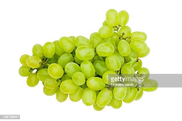 Close-up studio shot of organic white grapes