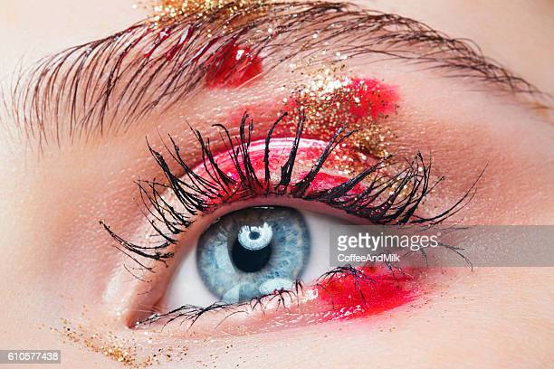 Close-up studio shot of woman eye