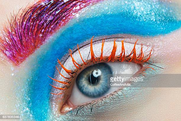 close-up studio shot of woman eye - make up stock pictures, royalty-free photos & images