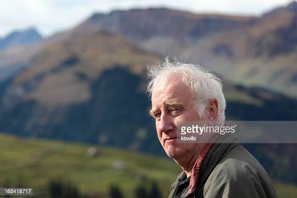 closeup swiss farmer in picturesque bernese alps