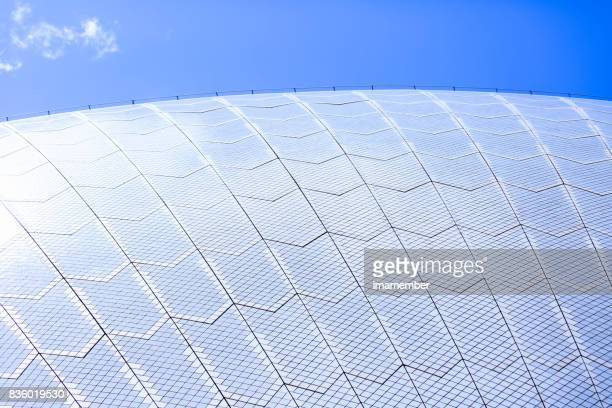 Closeup Sydney Opera House roofline, background with copy space