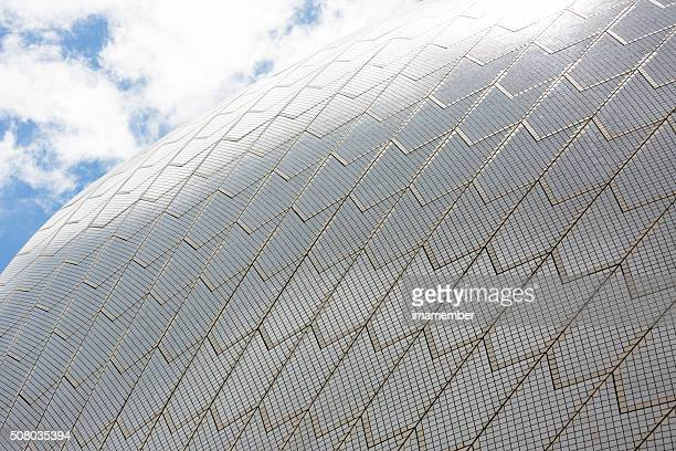 Closeup Sydney's Opera House roofline, abstract background, copy space