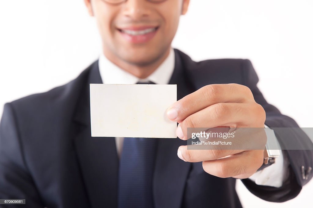 Closeup Up Of Young Professional Man Holding Blank Business Card ...