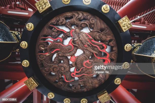 Close-up view below the giant ornate lantern at Hozomon gate of Sensoji Temple, Tokyo, Japan