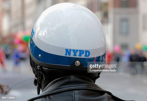Closeup view from behind of the helmet of a New York Police Department riot police officer November 24 2016