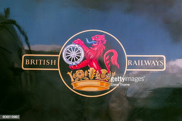 A closeup view of a British Railways logo on the Flying Scotsman during its visit to the Tyseley Locomotive Works on September 16 2016 in Birmingham...