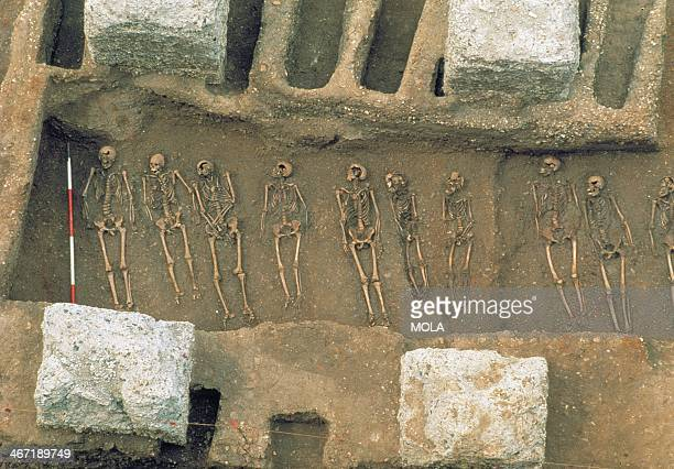 A closeup view of a burial trench between rows of individual graves excavated between the concrete foundations of the Royal Mint from the excavation...