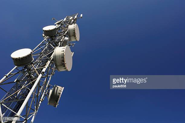 Close-up view of a communications tower
