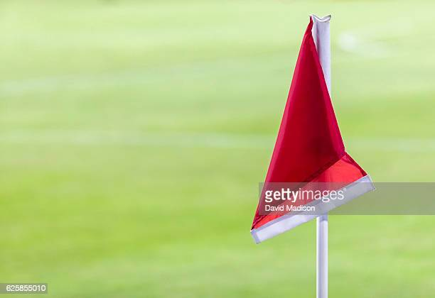 Close-up view of a corner flag at Avaya Stadium during a women's soccer match between the USA and Romania played on November 10, 2016 in San Jose,...