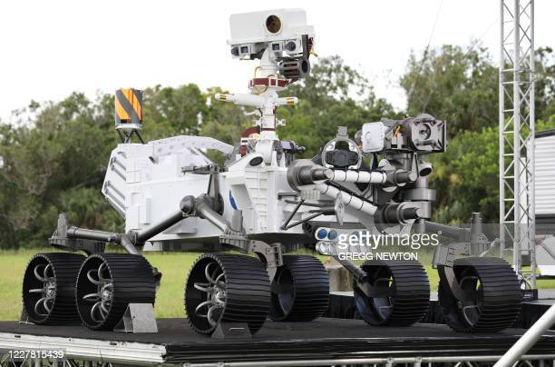 Close-up view of a full size model of the Perseverance rover is on display at Cape Canaveral Air Force Station in Florida on July 28, 2020. - The...