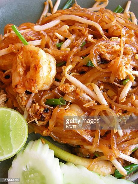 Close-up view of a helping of Pad Thai