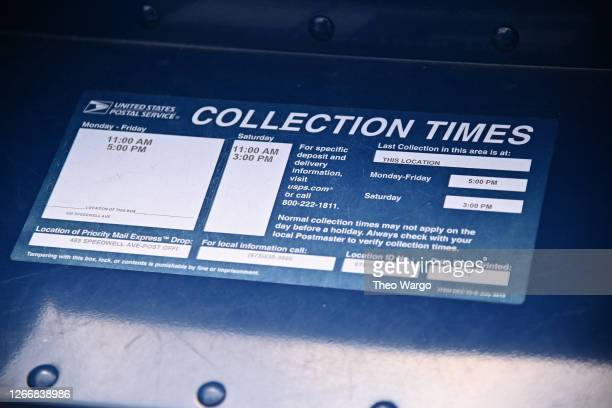 Close-up view of a mailbox outside of a Morris Plains, New Jersey post office on August 17, 2020 in Morris Plains, New Jersey. Postmaster General...