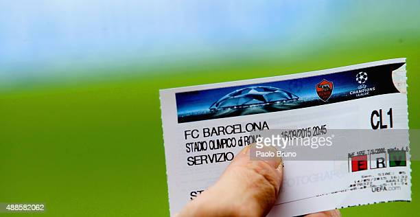 Close-up view of a match ticket before the UEFA Champions League Group E match between AS Roma and FC Barcelona at Stadio Olimpico on September 16,...