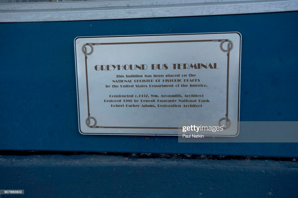 Plaque For The Historic Greyhound Station In Jackson, Mississippi : News Photo