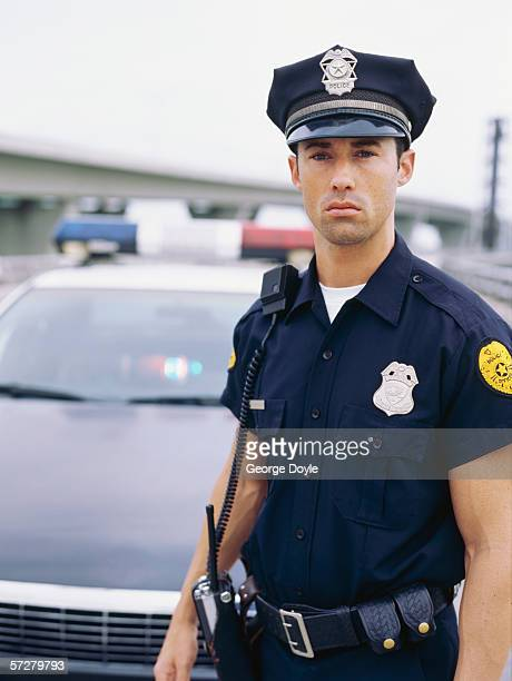 Close-up view of a policeman standing