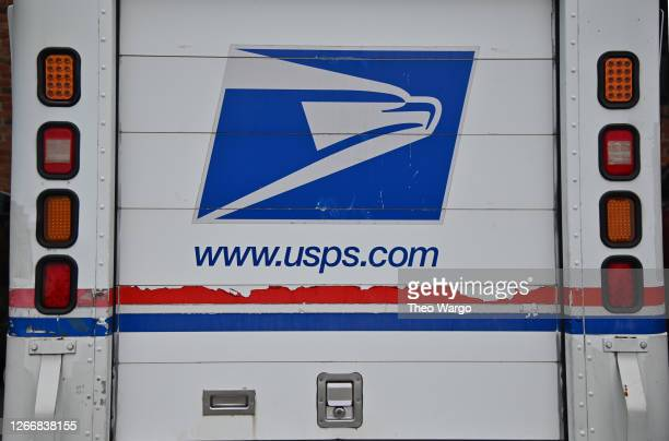 Close-up view of a postal truck is seen on August 17, 2020 in Morris Plains, New Jersey. Postmaster General Louis DeJoy has accepted House Democrats'...