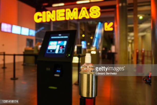 Closeup view of a sanitary gel dispenser on October 21st At MK2 Bibliotheque on October 21 2020 in Paris France Cinema MK2 Bibliotheque decides to...
