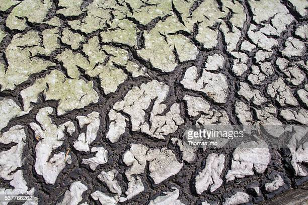 Closeup view of a sludge drying bed in a sewage treatment plant on April 06 2016 in Madaba Jordan