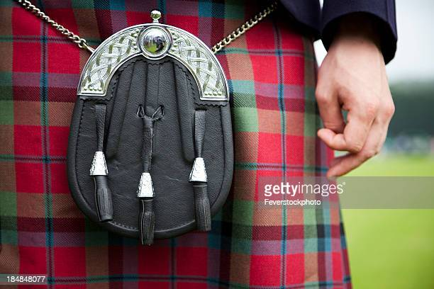 closeup view of a sporran and kilt - kilt stock photos and pictures