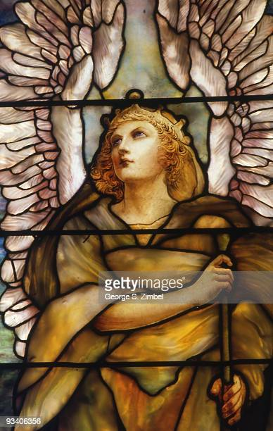 Closeup view of a stained glass window that depicts the angel Gabriel Montreal Quebec late twentieth century