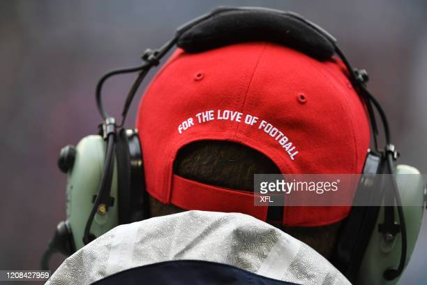 Closeup view of a XFL hat during the XFL game between the Dallas Renegades and the Seattle Dragons at CenturyLink Field on February 22, 2020 in...