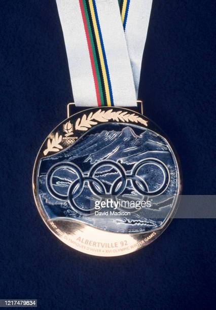 Closeup view of an Olympic Gold Medal awarded during the 1992 Olympic Games held in Albertville, France.