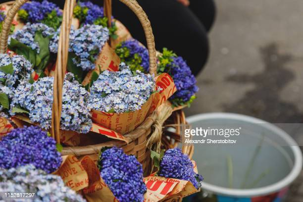 Close-up view of bouquets in street flower market