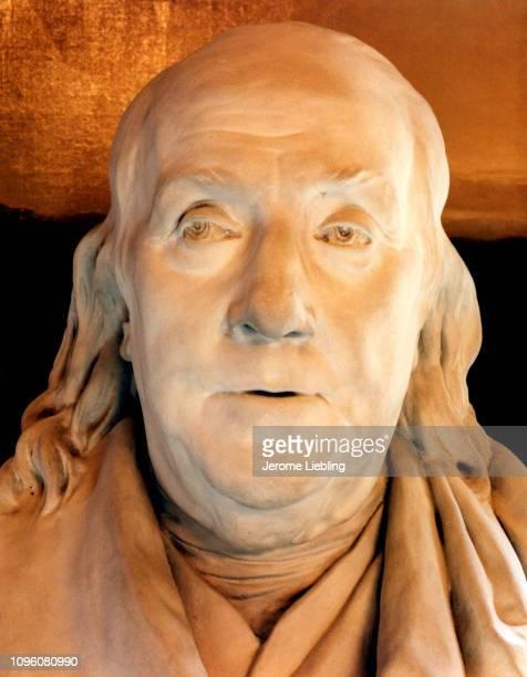 Closeup view of bust portrait of Benjamin Franklin by sculptor Jean Antoine Houdon Boston Atheneum Boston Massachusetts 1985