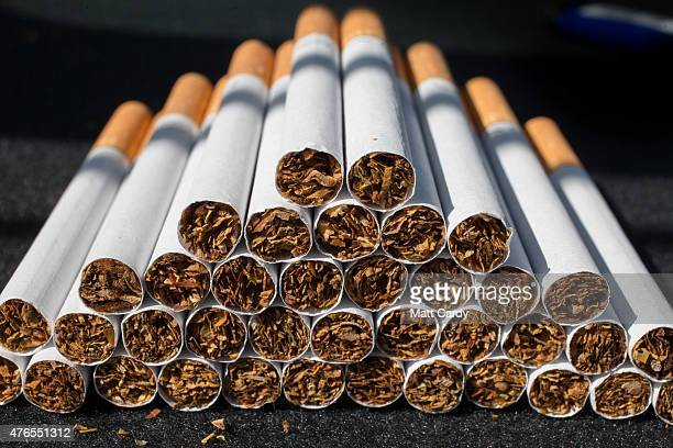 Close-up view of cigarettes on June 10, 2015 in Bristol, England. Health campaigners have asked for a levy on the tobacco industry to help fund...