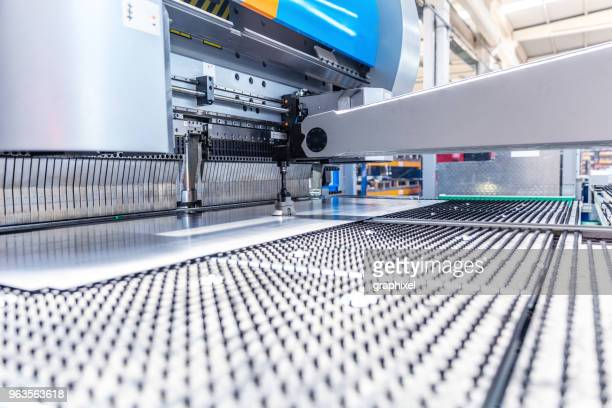 close-up view of cnc milling machine - sheet metal stock pictures, royalty-free photos & images