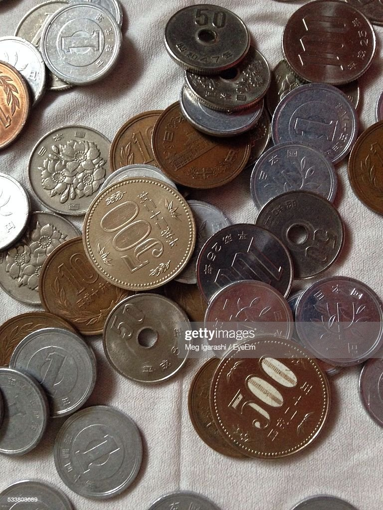 Close-Up View Of Coins : Foto stock