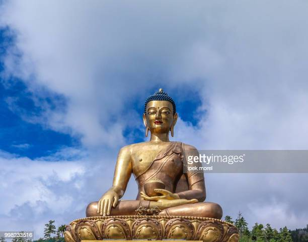 closeup view of giant buddha dordenma statue - ipek morel stock pictures, royalty-free photos & images