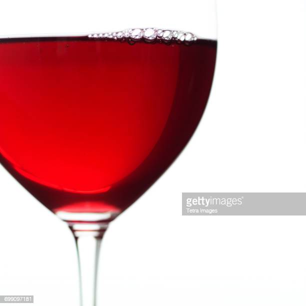 Close-up view of glass of red wine
