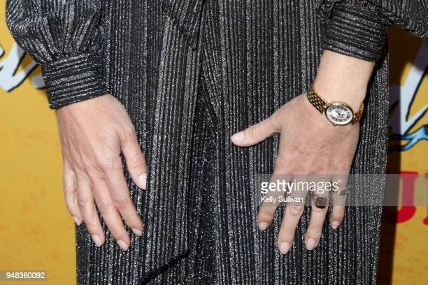 Closeup view of Gwyneth Paltrow's accessories as she arrives on the red carpet for the PreBroadway Opening Engagement Of 'Head Over Heels' at the...