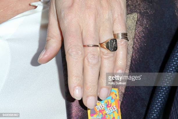 Closeup view of Gwyneth Paltrow's jewelry as she poses for photos on the red carpet for the PreBroadway Opening Engagement Of 'Head Over Heels' at...