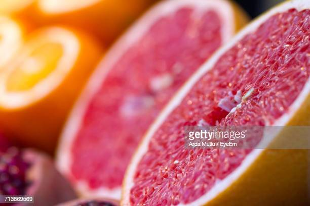 Close-Up View Of Halved Grapefruit