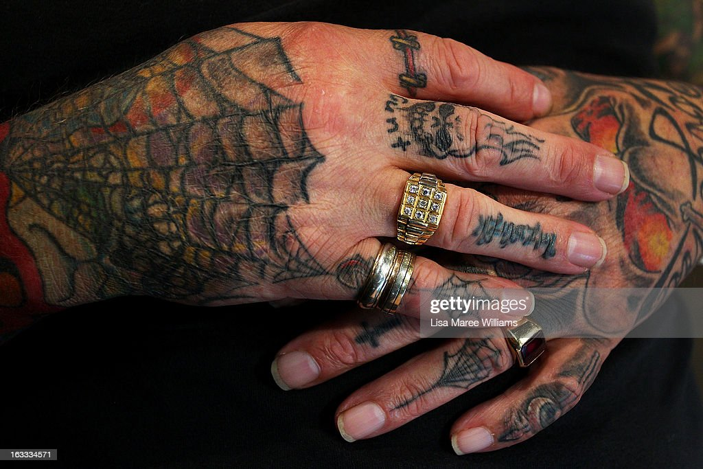 A close-up view of Ian Harding's tattooed hands as seen during The Australian Tattoo & Body Art Expo at the Royal Hall of Industries, Moore Park on March 8, 2013 in Sydney, Australia. The annual three day event showcases some of Australia's best tattoo and body artists and is open to enthusiasts March 8-10.
