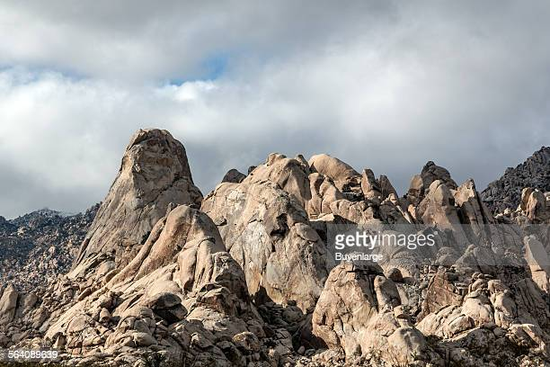 A closeup view of jagged rock formations at the pinnacle of Castle Crags State Park in ShastaTrinity National Forest south of Dunsmuir California